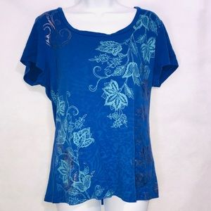 St. John's Bay Floral Tee Blue Xtra Large